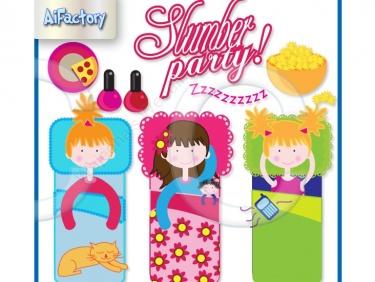 Girls Slumber Party Clipart.