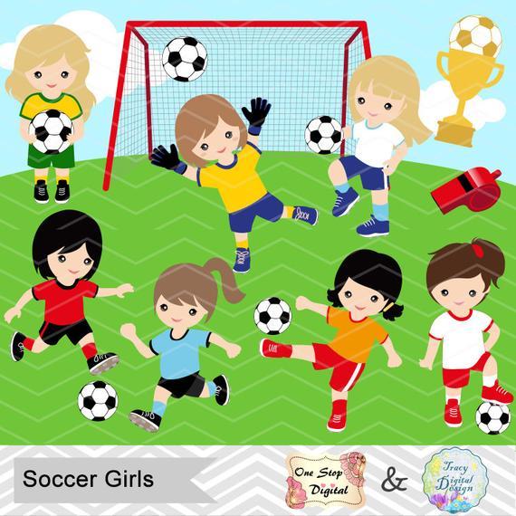 Digital Girls Soccer Clipart, Girl Soccer Digital Clip Art, Sport Clipart,  Girls Sport Clip Art, Sport Girls Clipart, Soccer Clipart 0257.