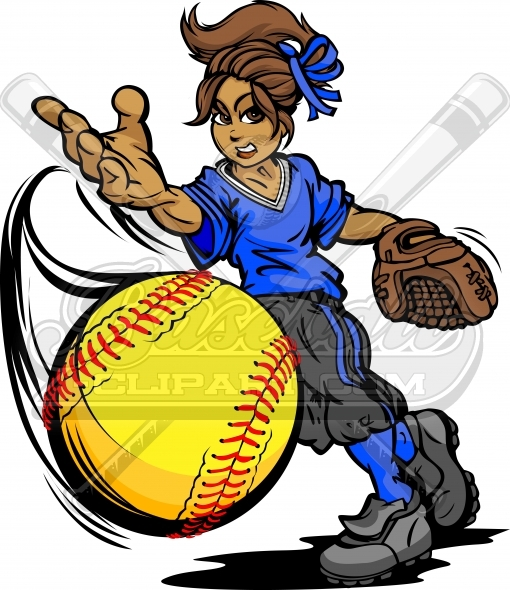 Fastpitch Softball Clipart Vector Clipart Image.