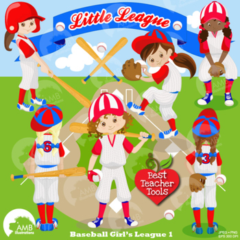 Baseball Clipart, Sports Clipart, Baseball Girl Clip Art, Blue and Red,  AMB.