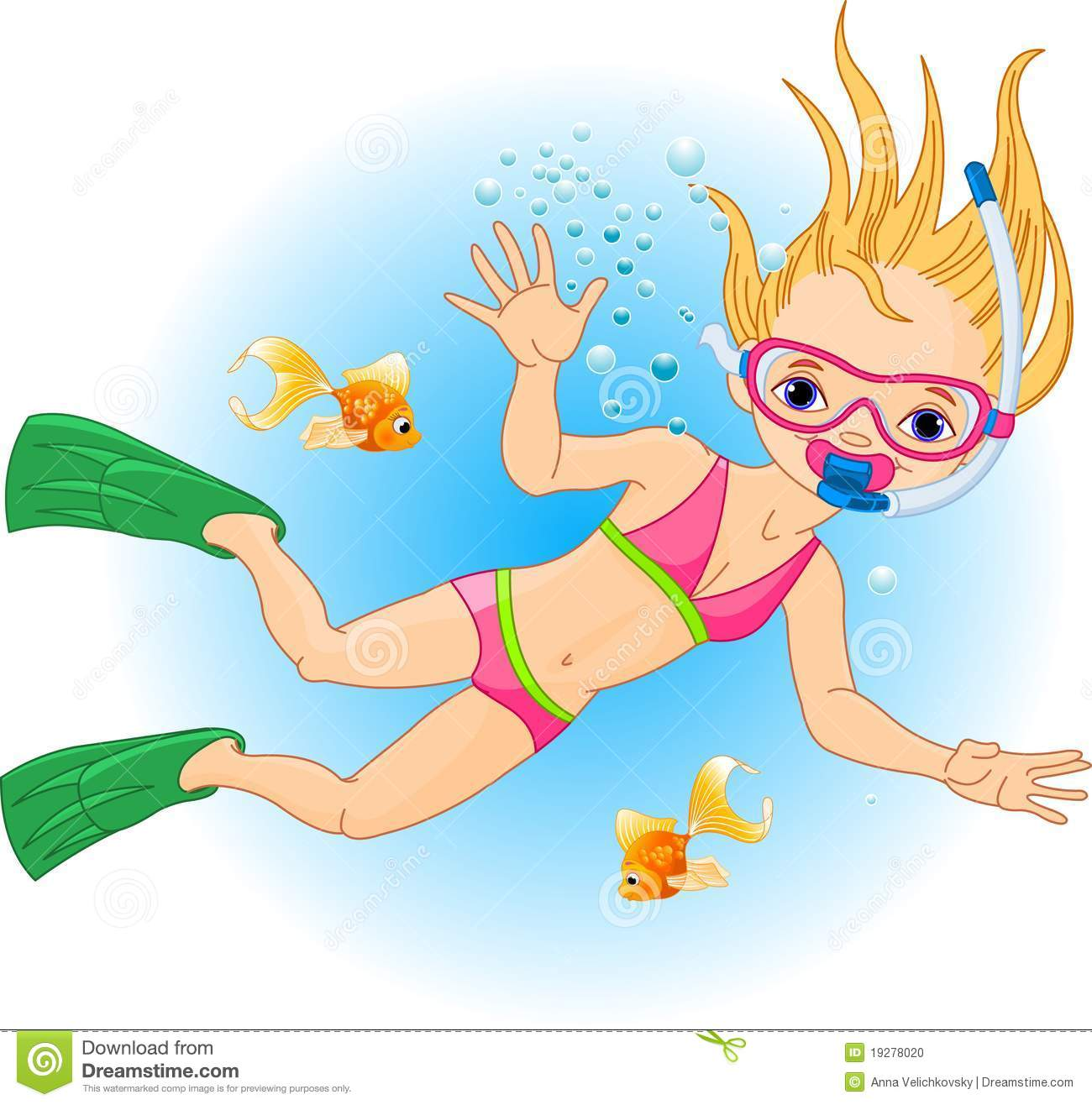 A Girl Swimming Clipart.