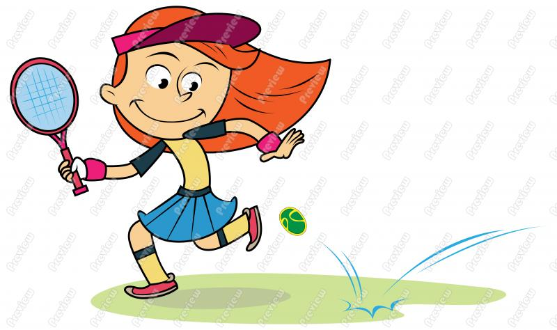 Girl Playing Tennis Clipart.