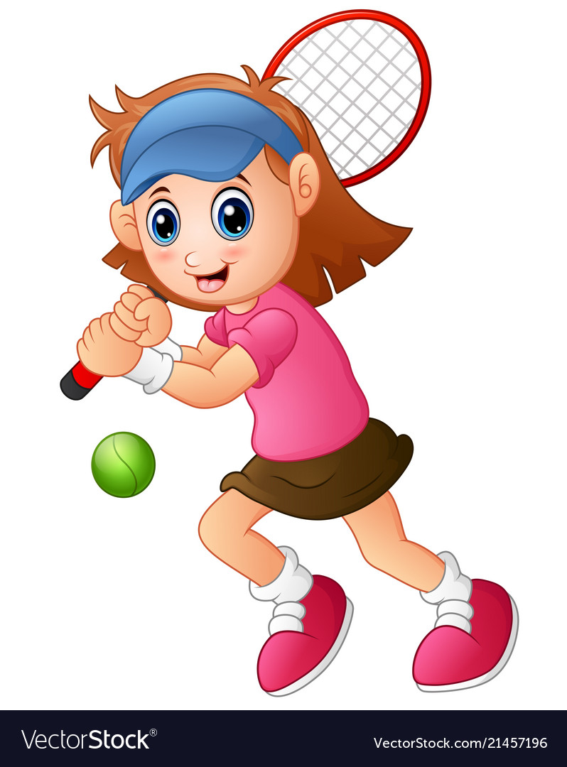 Young girl playing tennis on a white background.