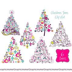 Girly Christmas Tree Clipart.