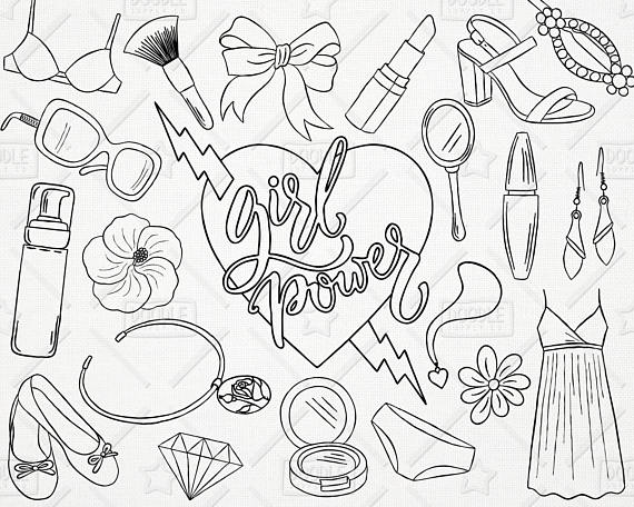Doodle Girl Power Vector Pack, Girly Things, Girly Clipart.