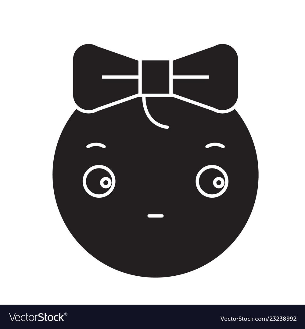 Cute girly emoji black concept icon cute.