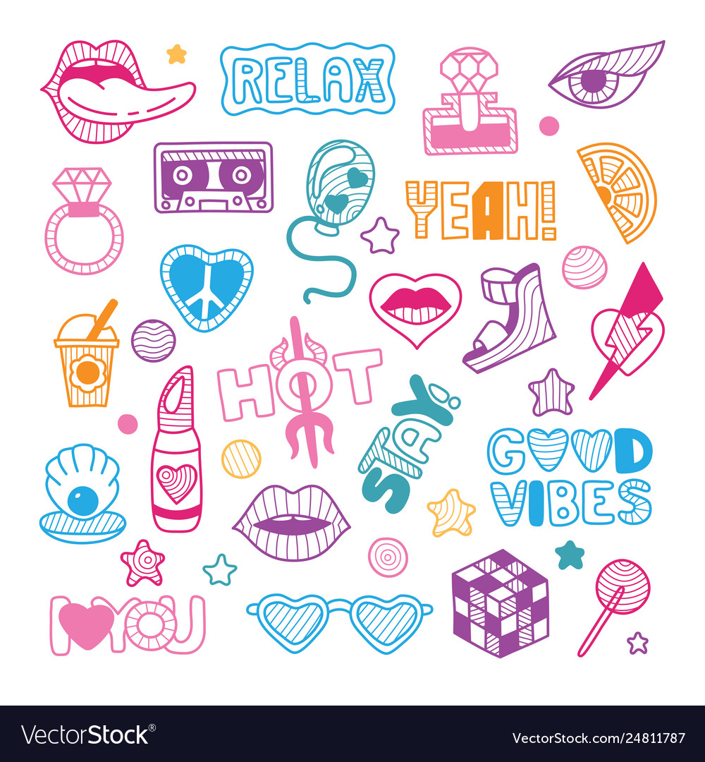 Doodle girly party and celebration clipart.