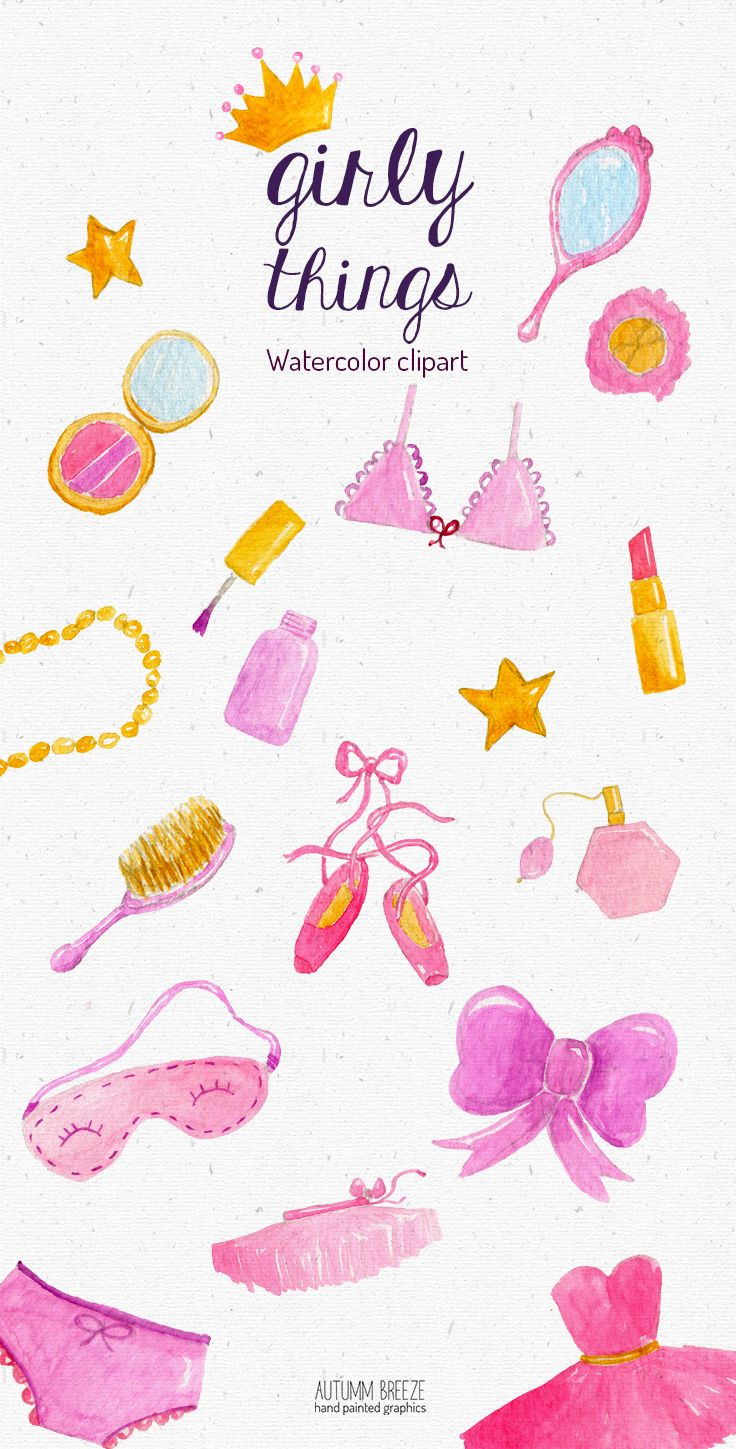 Watercolor girl clipart, pink girly clip art, pink.