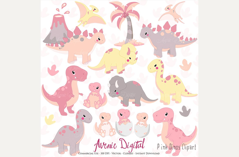 Cute Pink Dinosaur Clipart + Vectors.