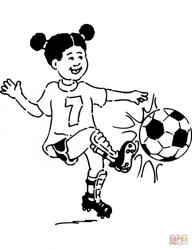 color pages ~ Soccer Girl Coloring Page Playing Football See.