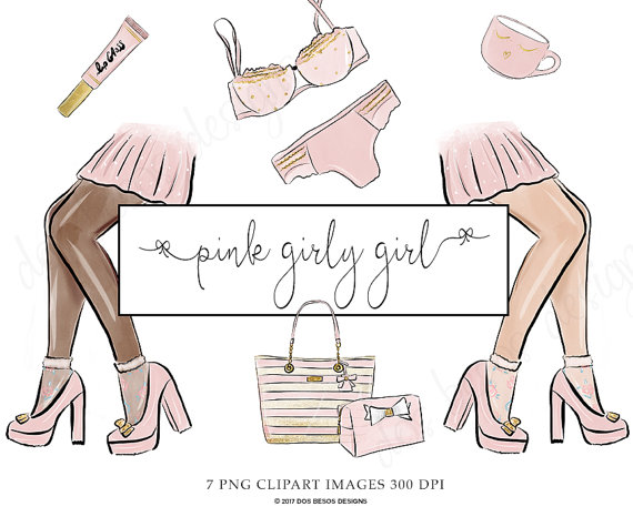 Pink Girly Girl Clipart, Cute Girly Things, Pink and Gold, Girl in.