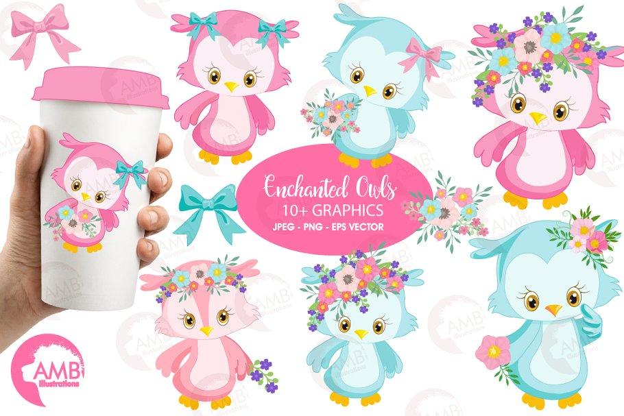 Girly Owl Clipart AMB.