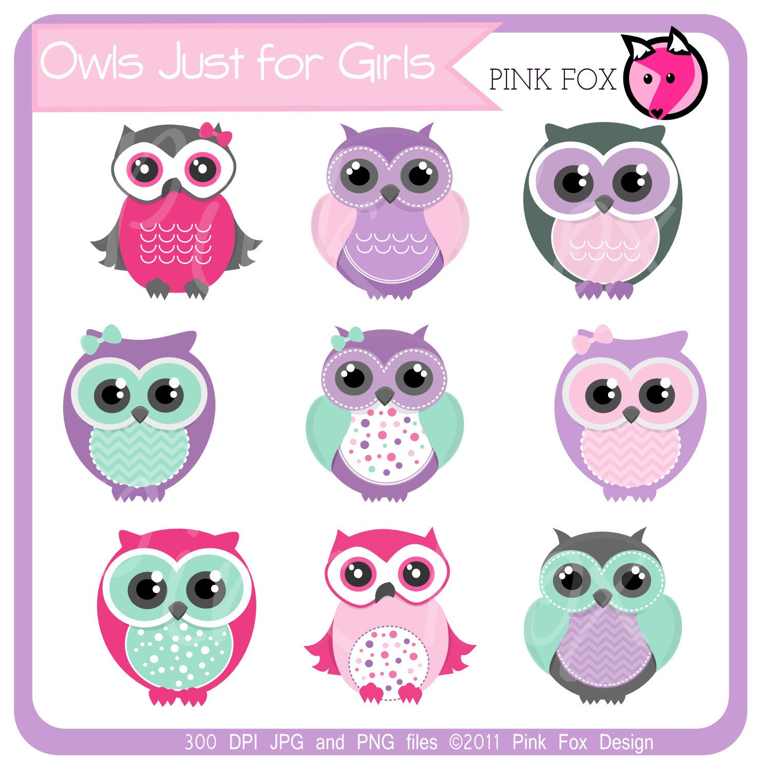 INSTANT DOWNLOAD, aqua and pink owl clipart for personal and.
