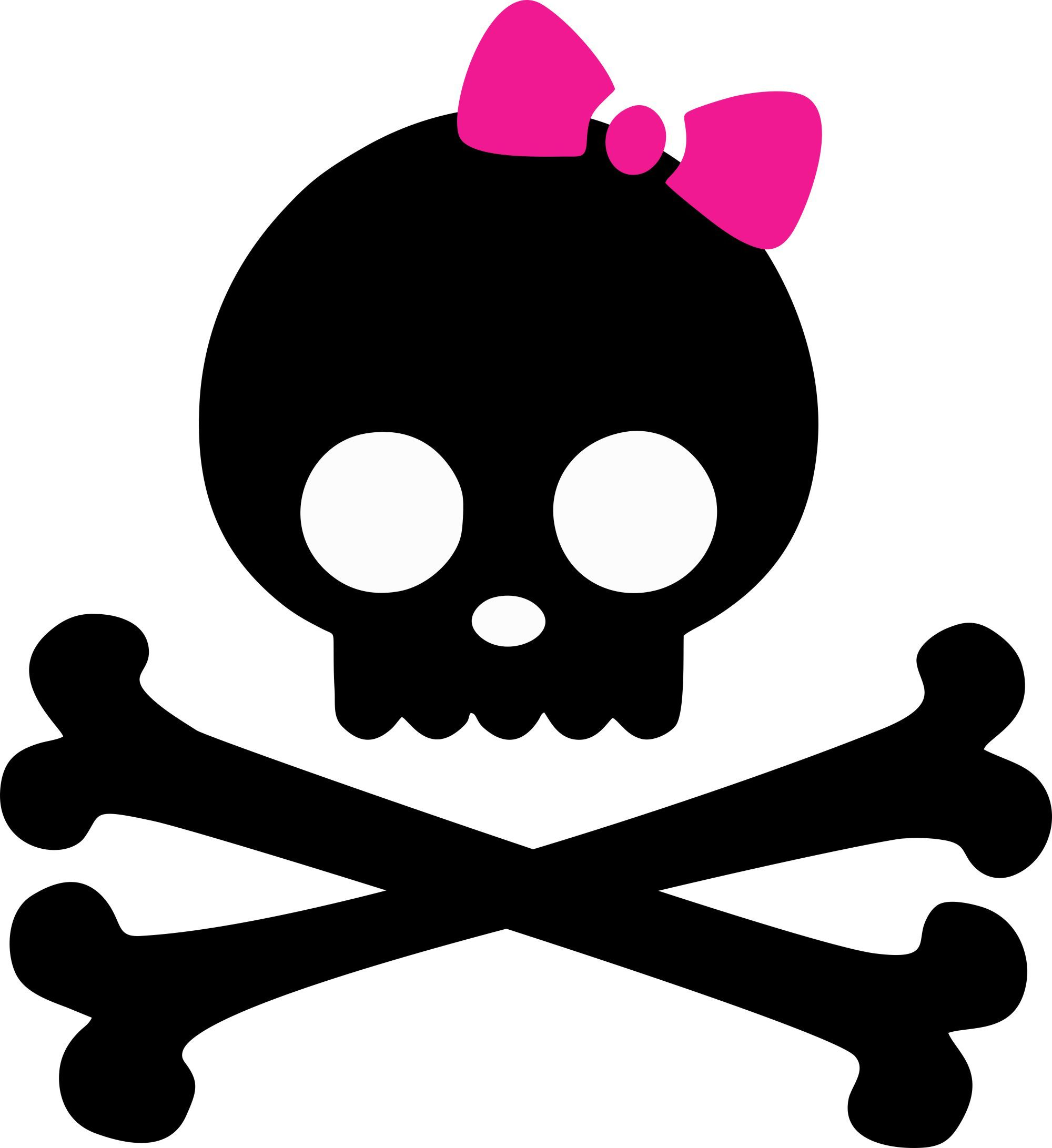Skulls and Bones Iron On with Pink Bow.