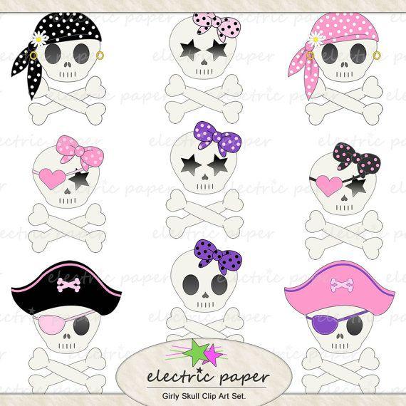 Cute Girly Skull Clip Art Set.