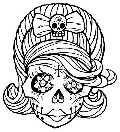Girly Sugar Skull Clipart.
