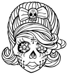 Gallery For > Sugar Skull Black And White Clip Art.