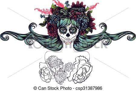 Sugar Skull Girl Clipart.