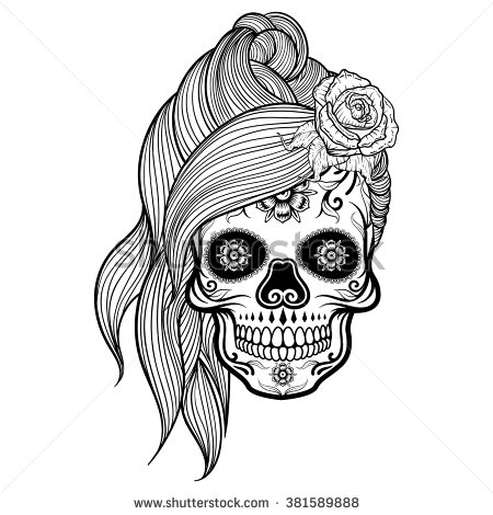 girly sugar skull clip...