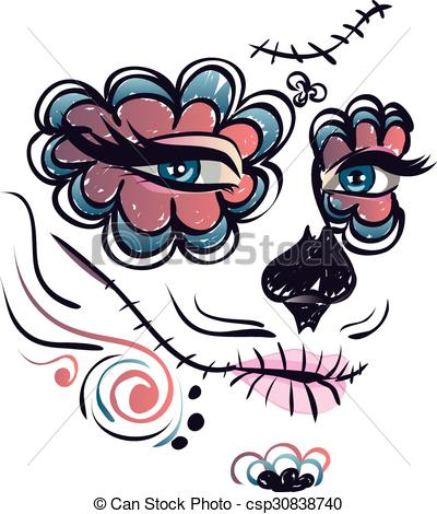 Cute Sugar Skull Face Clipart.