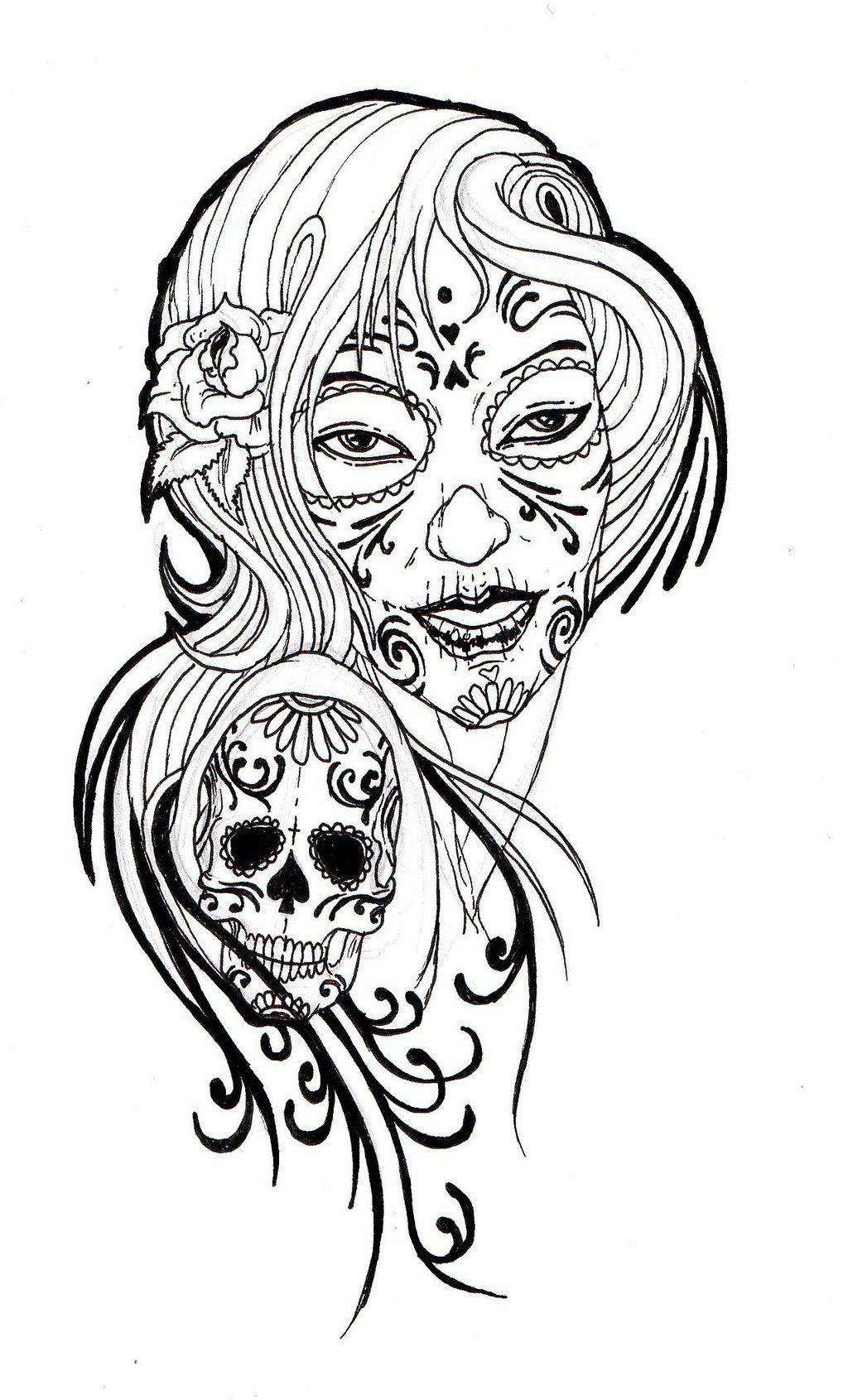 Girly Sugar Skull Clipart.