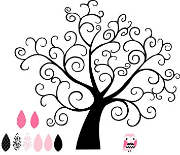 Pink and Black Curly Girly Tree wall saying vinyl lettering home.