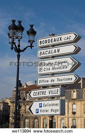 Stock Photo of Sign posts, Bordeaux, Gironde, France we113894.