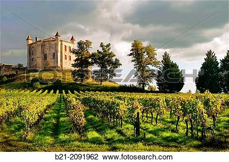 Stock Photo of France. Aquitaine. Gironde. Medieval castle of.