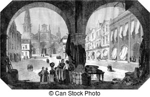 Square and church of bazas gironde vintage engraving Clip Art and.