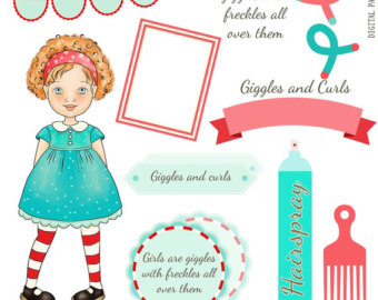 Digital Clipart, instant download, Vintage Birthday Girl Images.