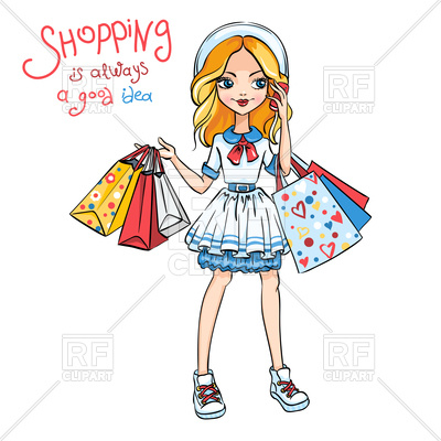 Cute fashion girl in dress and hat with shopping Vector Image.