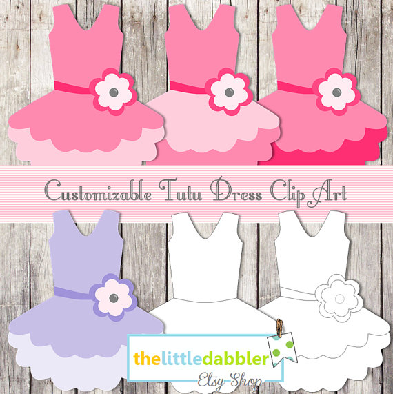 Hot Pink Tutu Baby Dress Banner and Favor Gift Tags.