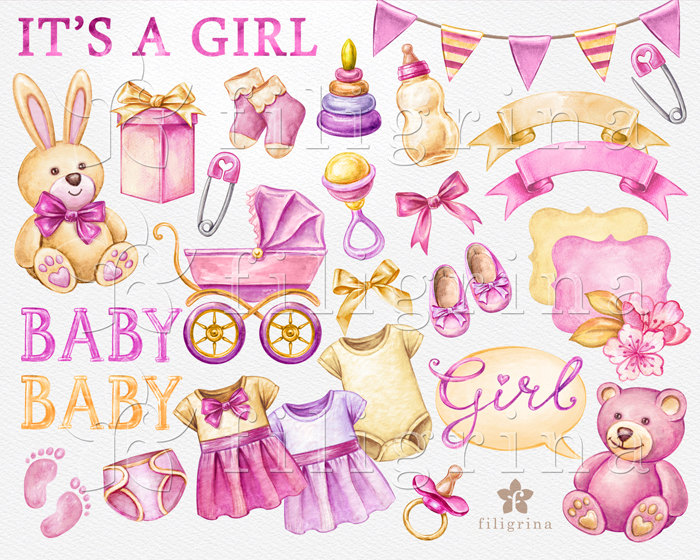 BABY GIRL 30 watercolor Clip Art elements. Plush toys, nursery.