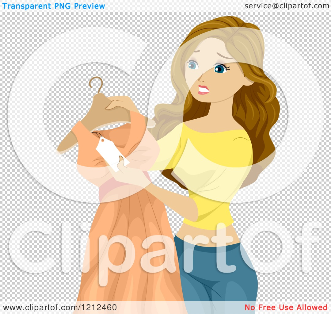 Cartoon of a Teen Girl Looking at a Price Tag on a Dress.