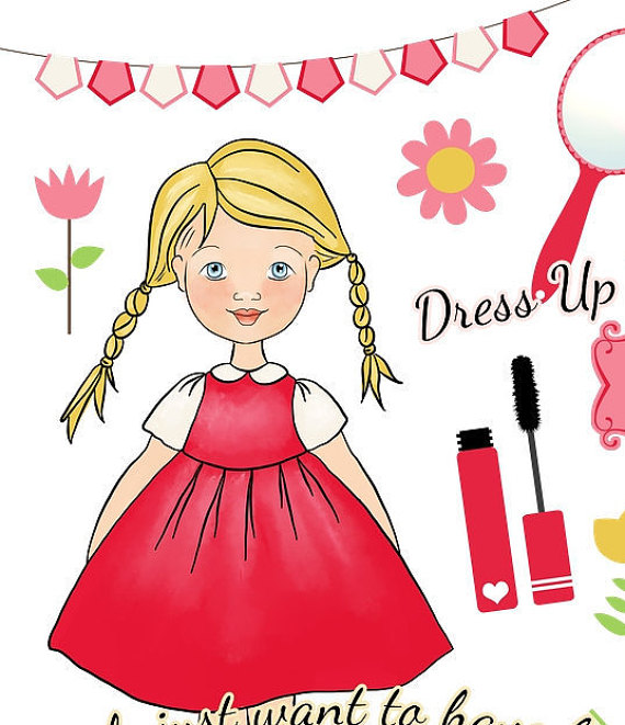 Girl with Red Dress and Blonde Hair Clipart, Hair Dryer ,Comb.