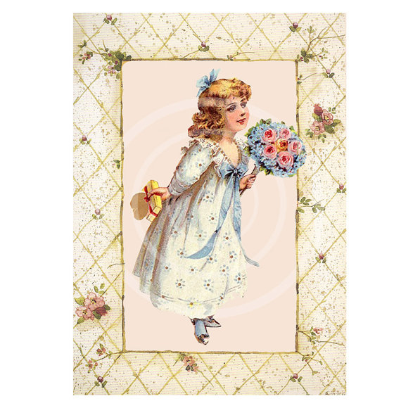Victorian Girls Instant Download Tags, ATC, Digital Collage, Cards.
