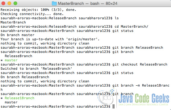 Git Rename Branch Example.