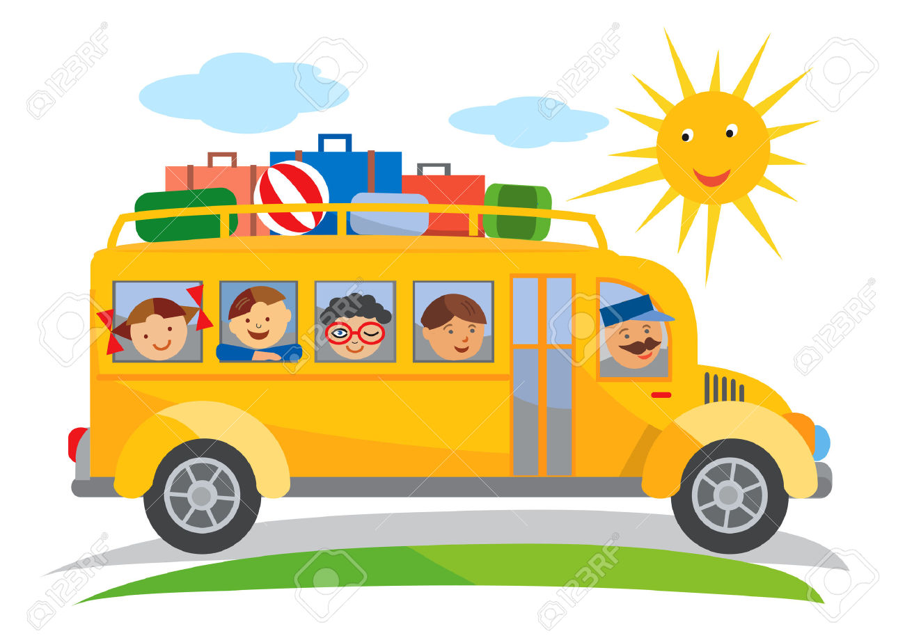 School Bus School Trip Cartoon. Cartoon Of Yellow School Bus.
