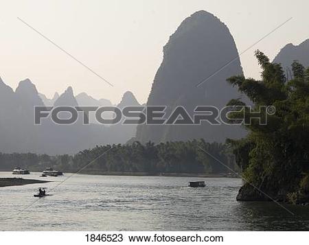 Stock Photo of Li river, Yangshuo, Guilin, Guangxi Province, China.