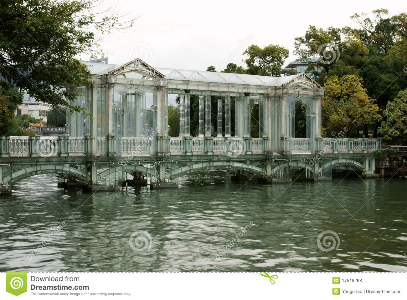 Glass bridge in china clipart.