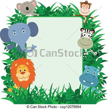 Clipart vettoriali di cornice, Animali, giungla.