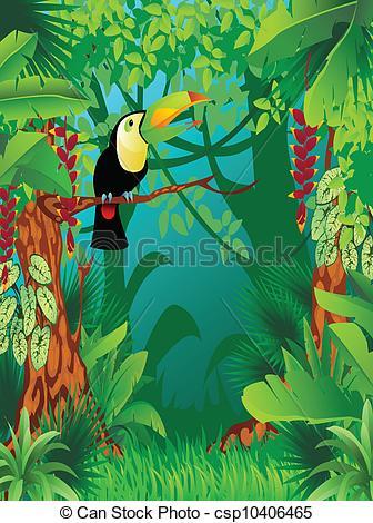Clipart vettoriali di esotico, tropicale, giungla.