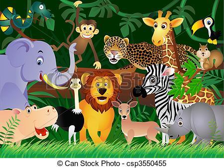 Clipart vettoriali di CÙte, giungla, animale, cartone animato.
