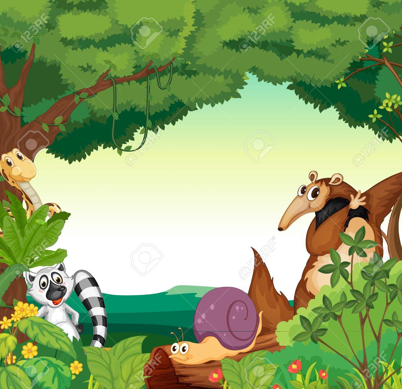 Illustrazione Di Una Scena Di Giungla Con Vari Animali Clipart.