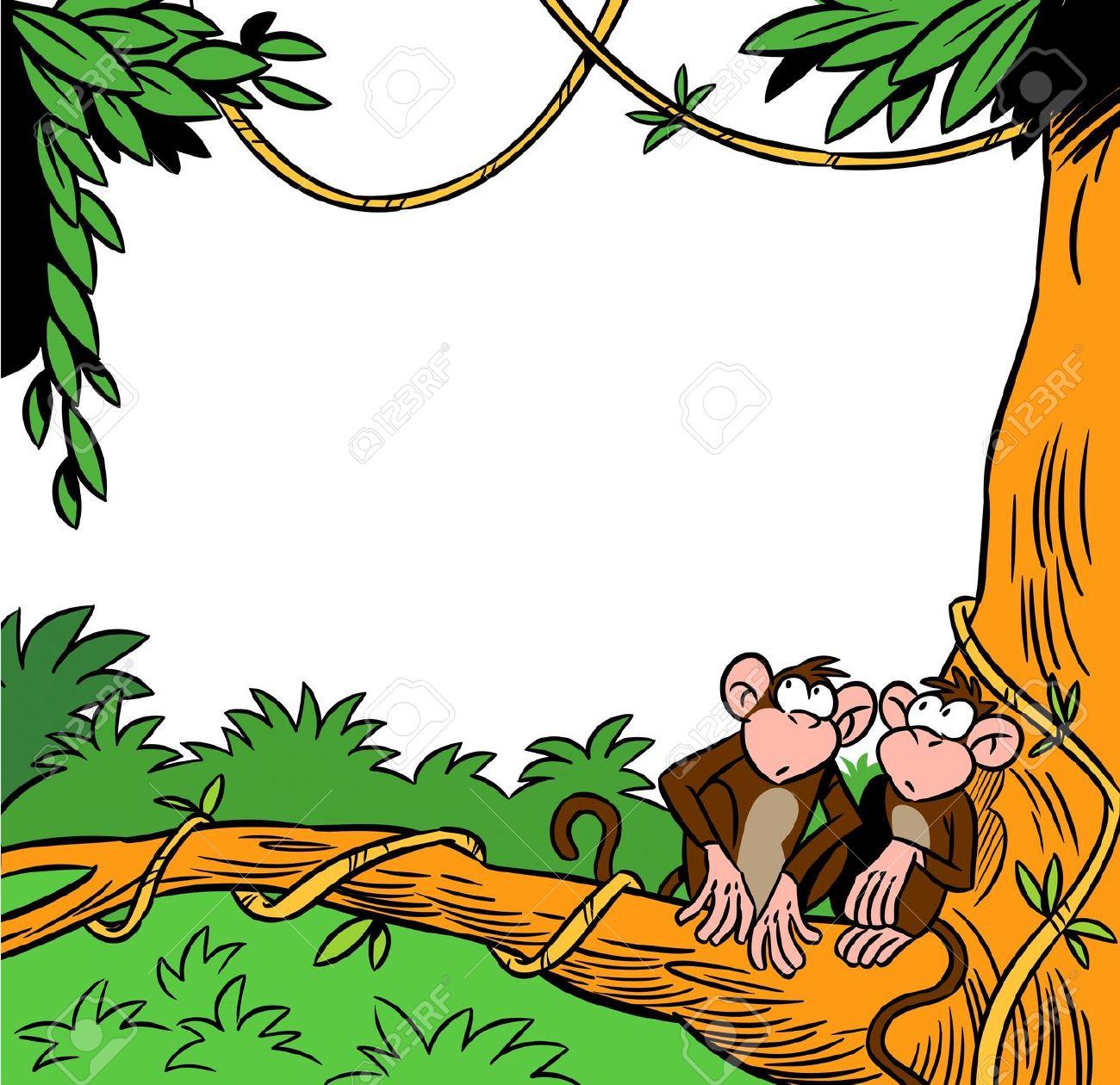 Due Buffa Scimmia Seduta Su Un Albero Sullo Sfondo Della Giungla.