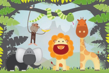 Cartone animato giungla animali vettoriali gratis, file vettoriali.