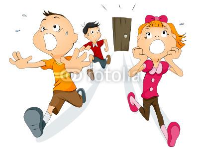 Child running away clipart.