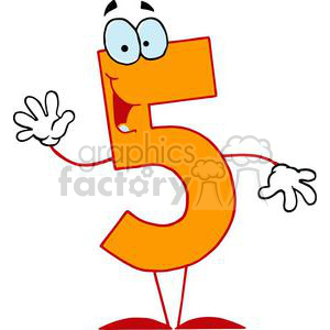 Happy Orange Number 5 five clipart. Royalty.