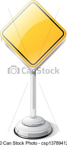 Vector Clip Art of Priority road traffic sign isolated on white.