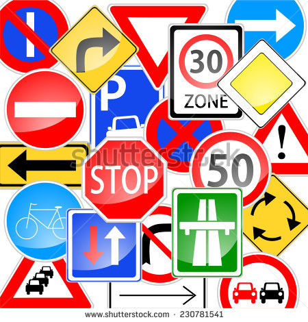 Traffic Signs Set Messy Order Piled Stock Vector 230781541.
